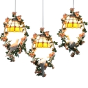 Plant & Pigeon Pendant Light Restaurant 1 Light Rustic Style Hanging Light with Grid/Sunflower Shade