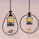 Lodge Balcony Pendant Light with Brass Bird Stained Glass 1 Light Tiffany Rustic Pendant Lamp