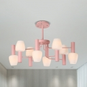 Contemporary Bud Shade Chandelier Opal Glass 8 Lights Gray/Pink/Yellow Hanging Light for Hotel