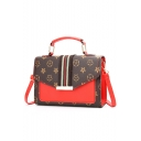Trendy Color Block Stripe Patched Printed PU Leather Crossbody Satchel Bag 20*7*14 CM