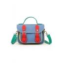 Stylish Color Block Belt Buckle Lock PU Leather Small School Satchel Bag 18*8*13 CM