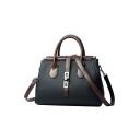 Women's Fashion Plain Belt Buckle PU Leather Work Satchel Shoulder Handbag 27*10*22 CM