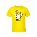 Cute Cartoon Team Egg Printed Round Neck Short Sleeve Basic Graphic Tee