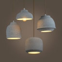 3 Mode Option Cement Hanging Light 1 Light Industrial Pendant Light in Gray for Shop Cafe