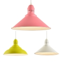 Industrial Conical Hanging Lamp Metal 1 Light Red/White/Yellow Pendant Light for Cloth Shop