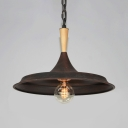 One Light Barn Shade Pendant Light Industrial Metal Suspension Light in Rust for Cafe
