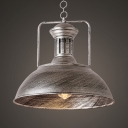 Aged Silver Dome Hanging Lamp 1 Light Vintage Style Metal Pendant Light for Restaurant Bar