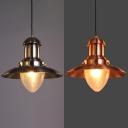 Saucer Shade Restaurant Pendant Light Metal 1 Light Industrial Hanging Light in Copper/Nickle
