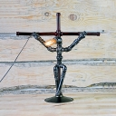 Vintage Style Cross Robot Desk Light Metal Single Light Table Lighting with Plug In Cord for Shop