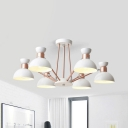 Metal Dome Shade Hanging Light Living Room 6 Lights Modern Style Chandelier in Gray/Gold