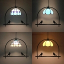 Rustic Style Black Pendant Light Dome Shade 1 Light Glass Hanging Light with Bird Decoration for Balcony