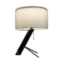 1 Light Drum Desk Light with Pull Chain American Rustic Metal Reading Light in White for Office