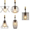 Industrial Black Pendant Lamp Wire Frame 5 Designs Optional 1 Light Glass Hanging Light for Foyer