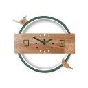 Wood Clock Bird LED Sconce Light Living Room Nordic Style Candy Colored Ceiling Light in Warm White/White