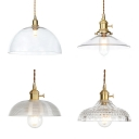 Dome/Prismatic/Ribbed/Saucer Ceiling Pendant 1 Light Clear Glass Pendant Light for Kitchen