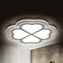 Modern White LED Ceiling Fixture Lucky Clover Metal Flush Mount Light in Warm White/White/Stepless Dimming