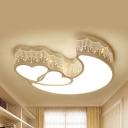 Tassel Heart Moon Ceiling Mount Light Modern Metal 4 Modes Choice Ceiling Lamp in White for Girl Bedroom
