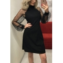 Trendy Simple Plain High Neck Beading Embellished Sheer Mesh Long Sleeve Mini A-Line Dress