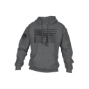 Unique Pencil Pattern Long Sleeve Casual Loose Pullover Drawstring Hoodie