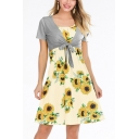 Summer New Stylish Sunflower Pattern Midi A-Line Two-Piece Dress