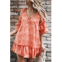 Summer Fashion Orange Pattern Tied V-Neck Mini Casual Loose Shift Ruffle Dress