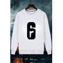 Popular Gun Number 6 Printed Round Neck Long Sleeve Pullover White Sweatshirt