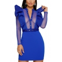 Hot Popular Simple Plain Button V-Neck Long Sleeve Ruffled Hem Mesh Panel Mini Bodycon Dress