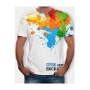Summer 3D Colorful Splash-Ink Painting Round Neck Short Sleeve White T-Shirt