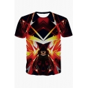3D Cool Geometric Fire Pattern Round Neck Short Sleeve Fitted Tee