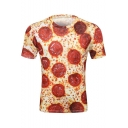 Summer Fashion Pizza Food 3D Pattern Round Neck Short Sleeve T-Shirt