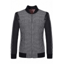 Mens New Stylish Plaid Pattern Stand Collar Long Sleeve Zip Up Business Slim Jacket