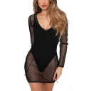 Womens Summer Fashion Sexy Lace-Up V-Neck Long Sleeve Hollow Out Mesh Mini Cover Up Dress