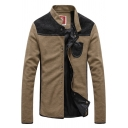 Mens Trendy Patchwork Solid Color Stand Collar Long Sleeve Snap Button Down Fitted Jacket