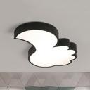 Metal Thumb Flush Mount Light Modern Black/White LED Ceiling Lamp in Warm/White for Baby Bedroom
