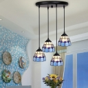 4/5/6 Lights Grid Dome Pendant Light Tiffany Stylish Glass Hanging Light in Blue/Yellow for Balcony