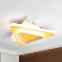 Metal Slim Panel Ceiling Mount Light Girl Boy Bedroom Simple Style Flush Light in Warm/White/Third Gear Dimming