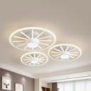 Modern Wheel Decoration Flush Mount Light Metal White Ceiling Light in Warm/White for Nursing Room