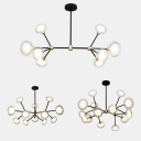 Living Room Branch Chandelier Metal 8/12/16 Heads Postmodern Style Black Pendant Light