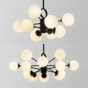 Contemporary Bubble Pendant Light Opal Glass 8/12 Lights Black Chandelier for Cloth Shop Store