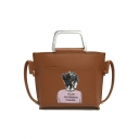 Fashion Figure Letter YOUR GHARMING FIGURE Printed Top Handbag Satchel Bag 21*6*20 CM