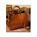 Simple Fashion Plain Large Capacity Waxed Leather Work Satchel Shoulder Bag for Women 32*27*12 CM