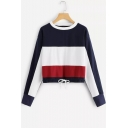 Trendy Color Block Basic Round Neck Long Sleeve Drawstring Hem Casual Sweatshirt