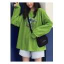 New Popular Green Earth Letter Print Round Neck Long Sleeve Loose Oversized Sweatshirt