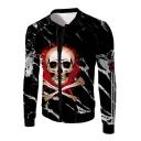 Cool Fire Skull Pattern Long Sleeve Zipper Front Black Slim Jacket for Men