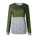 Fashion Color Block Trendy Polka Dot Print Round Neck Fitted Sweatshirt