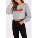 Cool Stripe Letter GOOD GIRLS BAD GIRLS Printed Round Neck Long Sleeve Crop Grey Sweatshirt