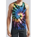 Summer New Trendy Colorful Tie Dye Round Neck Sleeveless Casual Loose Tank Top