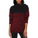 Womens New Stylish Two-Tone Patchwork Mock Neck Long Sleeve Slim Fit Sweatshirt