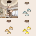 Art Glass Bowl Pendant Light Cloth Shop 3 Lights Tiffany Traditional Hanging Light in Blue/Pink/Yellow