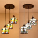Bird/Grid House Restaurant Hanging Lamp Stained Glass 3 Lights Tiffany Vintage Pendant Light